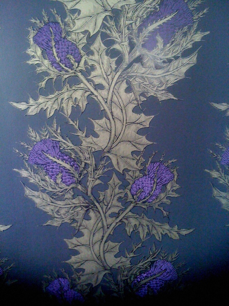 Purple and gold wallpaper by Timorous Beasties