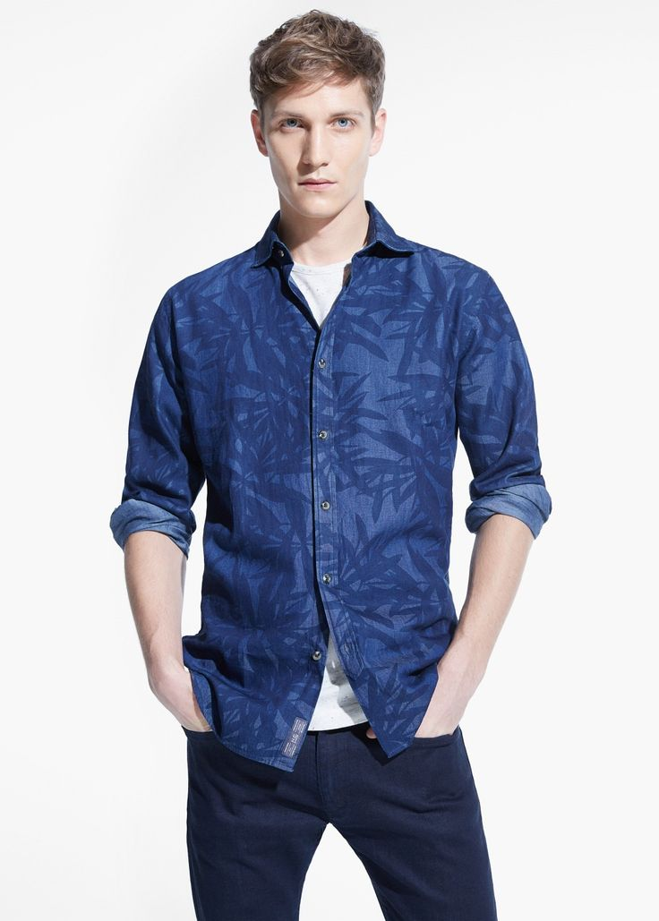 Camicia slim-fit chambray stampata Print shirt