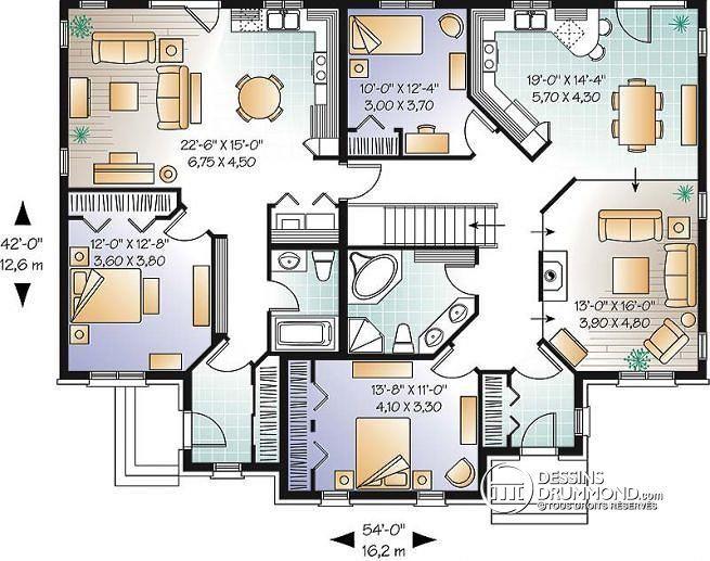 Plan de Rez-de-chaussée Logement grands-parents, 2 chambres, salle séjour avec foyer  - Orca