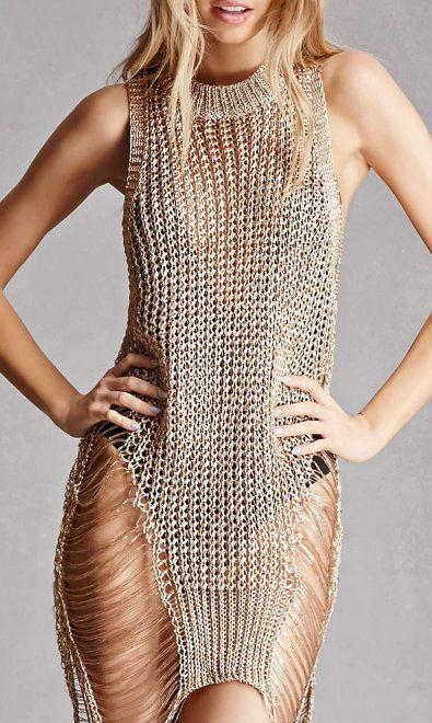 Rose Gold Metallic Open-Knit Top