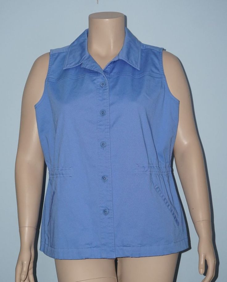 Denim & Co. 1x French Blue Stretch Twill Button Front Utility Vest Jacket #DenimCo