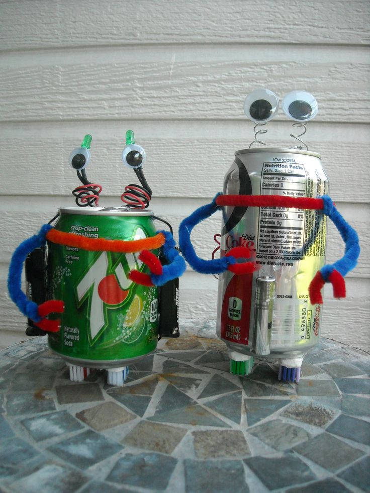 These robots are made from recycled materials: A soda can, a vibrating motor, 2 LED, toothbrushes, pipe cleaners, and 2 AAA batteries. You can watch them in action on http://youtu.be/dvIw0cKwdrQ.