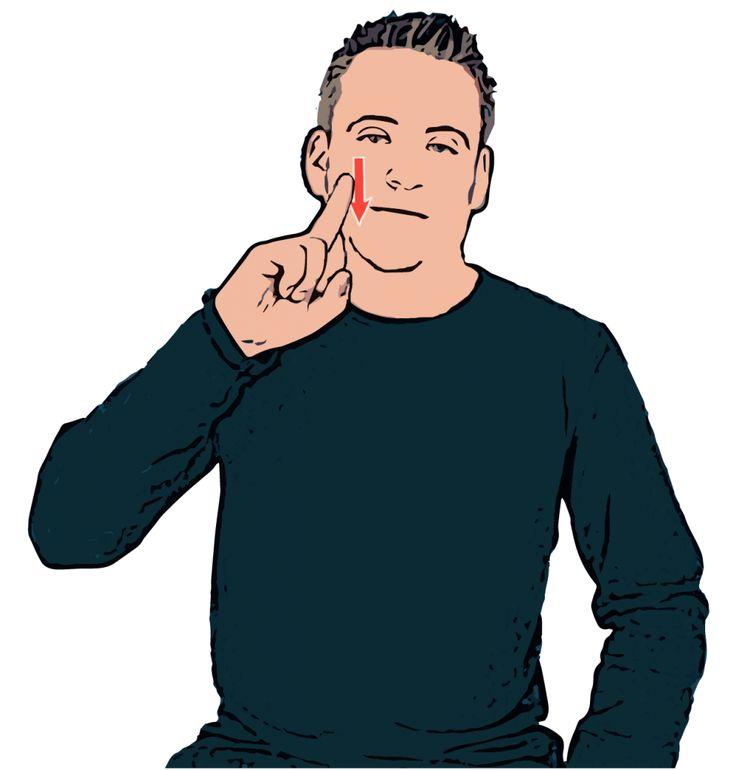 PINK - British Sign Language (BSL) Description: Tip of primary index finger brushes down cheek.