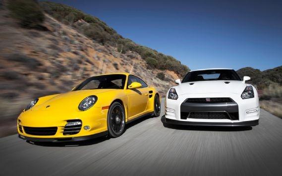 Porsche 911 Turbo S vs. Nissan GT-R, a galactic supercar showdown.