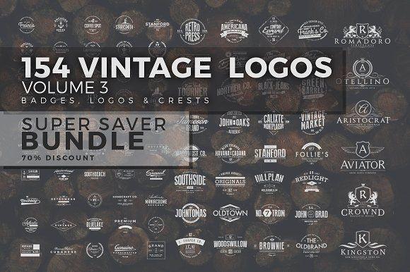 154 Vintage Logos Bundle Vol.3 by Zeppelin Graphics on @creativemarket