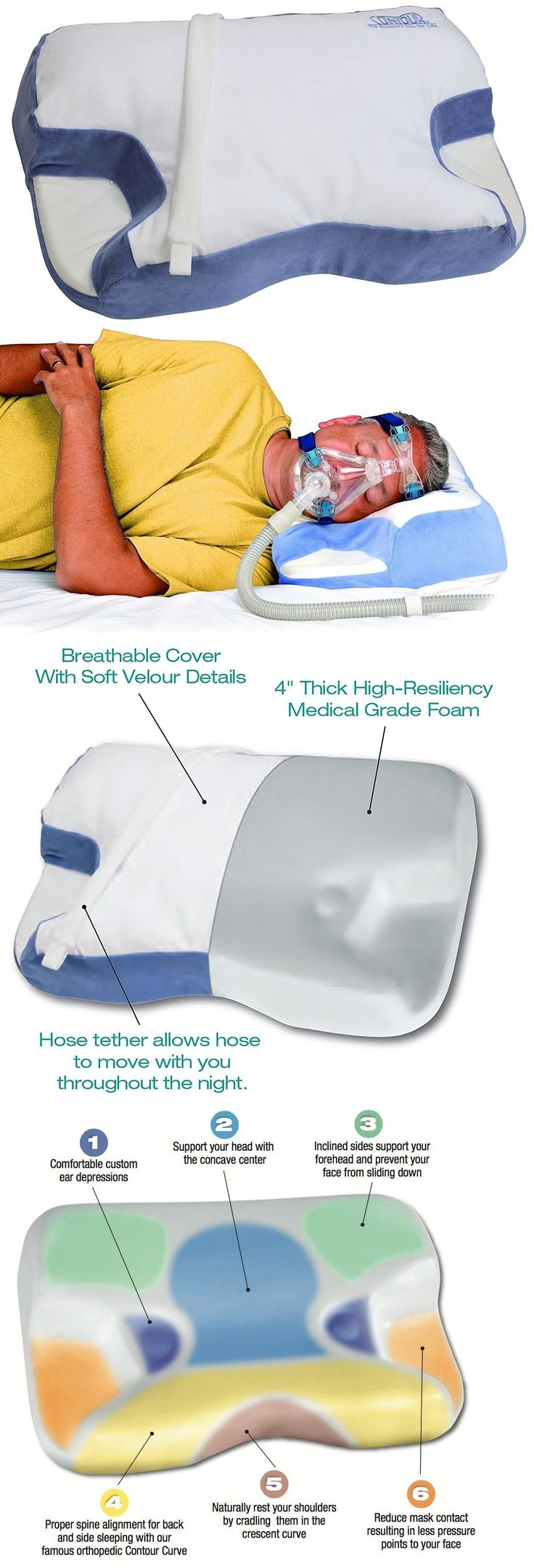 Other Sleeping Aids: Contour Standard 2.0 Cpap Bipap Device Support Sleep Apnea Pillow New Improved -> BUY IT NOW ONLY: $49.95 on eBay!