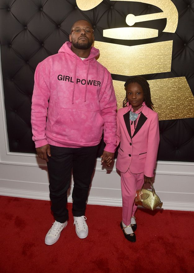 """Best Rap Album"" nominee ScHoolboy Q showed up to the Grammy Awards on Sunday accompanied by his daughter Joy. Q, in a ""Girl Power"" hoodie to match his daughter's pink Gucci suit, got dressed with intent. 