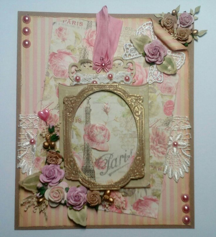 Vintage style card using Sweet Paris papers by Trimcraft