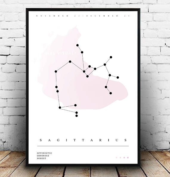 This gorgeous Sagittarius star sign constellation horoscope print makes for a lovely piece of wall décor. The print features the Sagittarius star constellation along with three words to describe a Sagittarius: Optimistic, Generous, Honest. This print would look amazing within a gallery wall and perfect if youre a Sagittarius! Also makes a great gift for those with a Sagittarius star sign, especially if they love horoscopes and star constellations. This print would be lovely as home office…