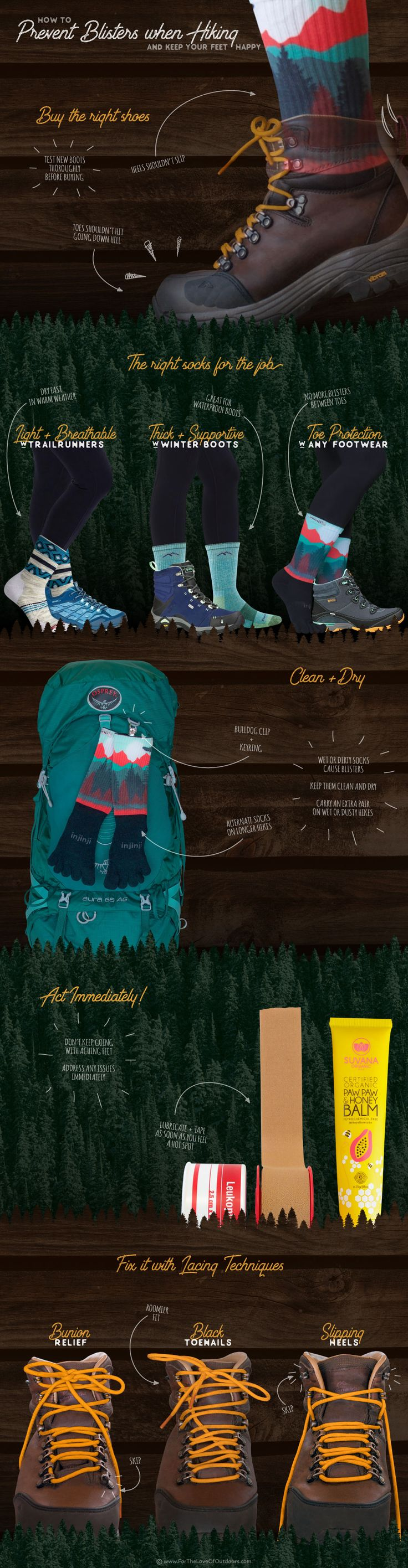 How to Prevent Blisters when Hiking - an Infographic Tutorial - Hiking Tips