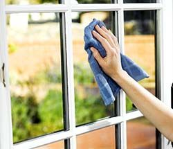 Try this recipe from Merry Maids: mix 3 drops Dawn in 1 gallon water and fill a spray bottle with the solution. Spritz and wipe as you would with any window cleaner.
