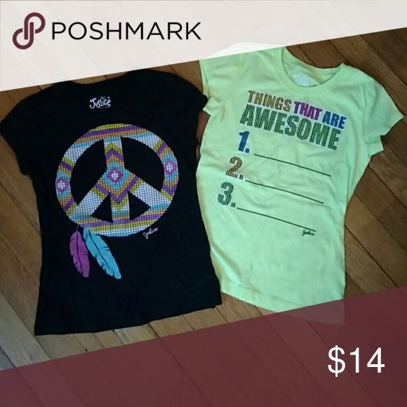 2 awesome Justice t shirts Excellent condition. Size 8. Bundle for discount. Check out my closet for lots more! Justice Shirts & Tops Tees - Short Sleeve