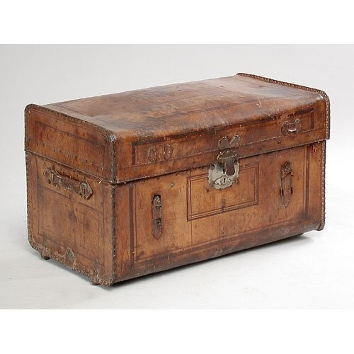 TRUNK.  Victorian Tooled Leather Trunk