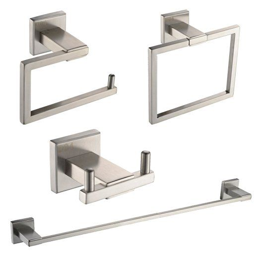 79.99-KES SUS 304 Stainless Steel 4-Piece Bathroom Accessory Set RUSTPROOF Including Towel Bar Toilet Paper Holder Towel Ring Double Robe Hook Wall Mount Contemporary Square Style, Brushed Finish, LA242-42