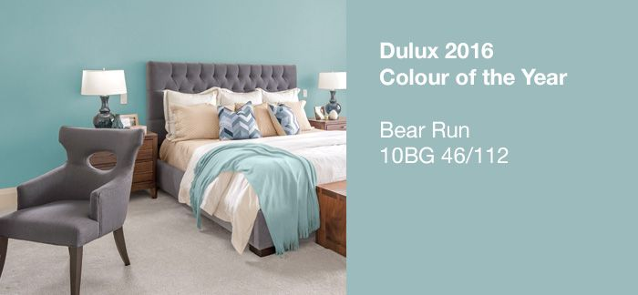 2016 DULUX COLOUR OF THE YEAR:  'BEAR RUN' (10BG 46/112), an ethereal blue that exudes calm and peacefulness.