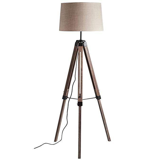 Stone Beam Modern Tripod Floor Lamp 59 5 H With Bulb Pine