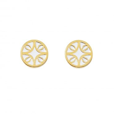 """Florence Earrings in Gold with White - Get 25% off these earrings with code """"foxypin"""" http://www.foxyoriginals.com/Florence-Earrings-in-Gold-with-White.html Tags: gold jewelry, imaginary voyage, florence inspired, earrings, foxy originals"""
