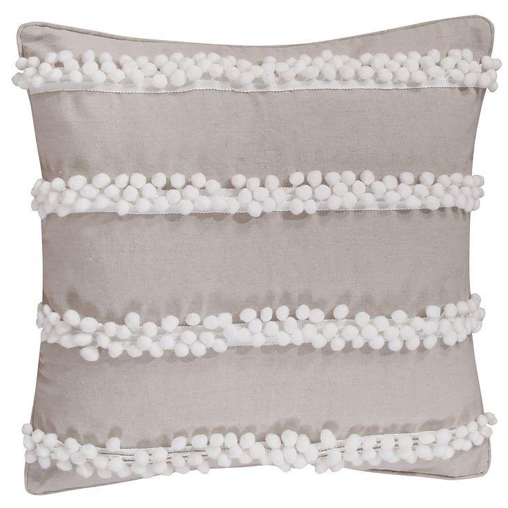 Levtex Pom Pom Burlap Throw Pillow, Beig/Green (Beig/Khaki)