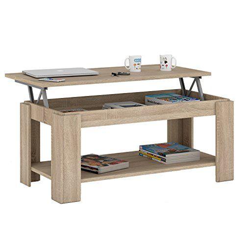 Habitdesign 001639 F Couchtisch Ausfahrbare Tischplatte Mit Integriertem Zeitungsstnder Eiche Natur 102 X