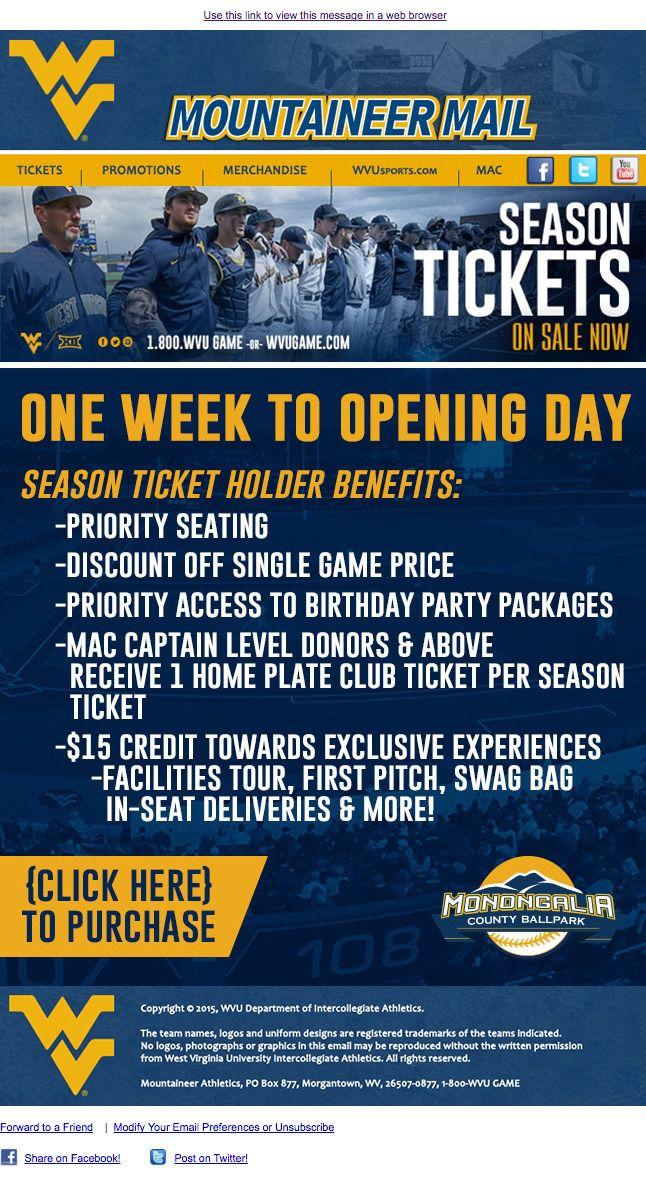 WVU17 Season Tickets On Sale Now. Designed by WVU.