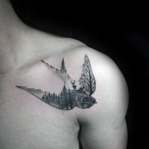 Mens Sparrow Nature Scene With Trees Small Shoulder Tattoo