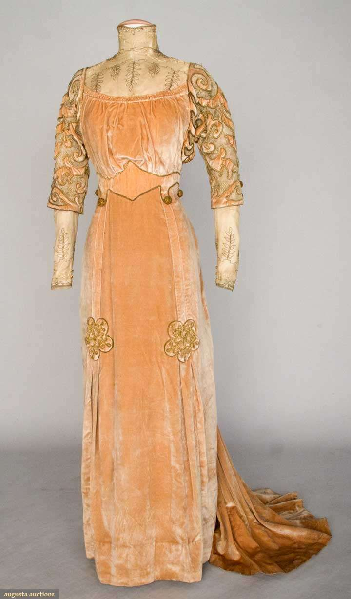 Day dress, of faun silk velvet with metallic gold cord trim, and embroidered net blouse insert