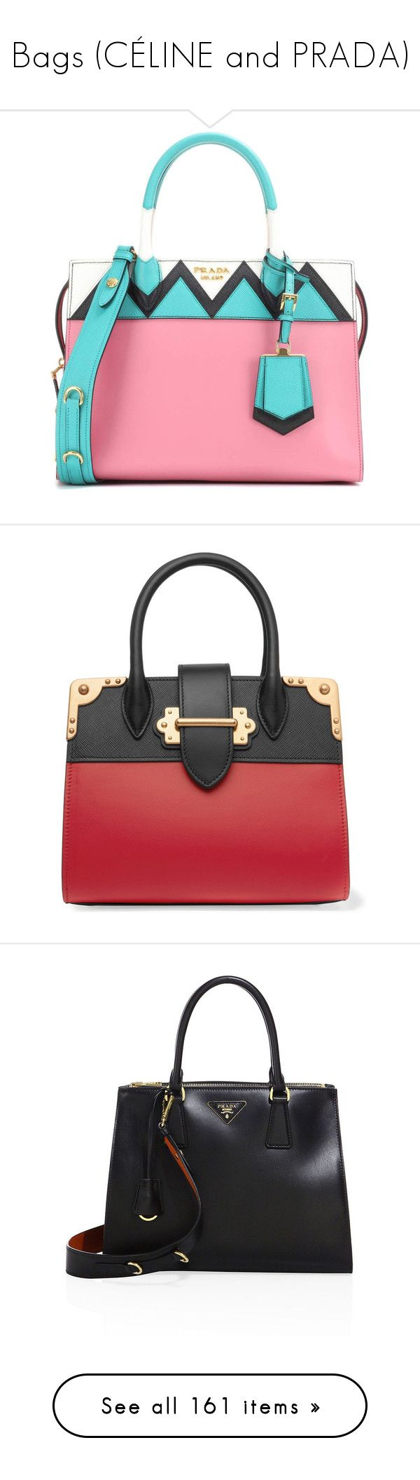 """""""Bags (CÉLINE and PRADA)"""" by medicicavendish ❤ liked on Polyvore featuring bags, handbags, tote bags, sac, wine, zippered tote bag, prada tote, prada handbags, prada tote bag and zip top tote"""