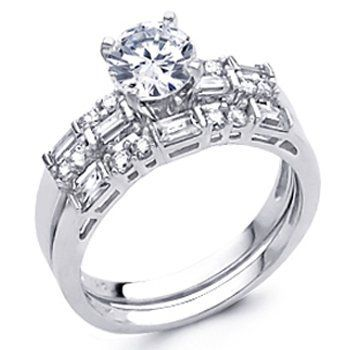 14K White Gold Round-cut Top Quality Shines CZ Cubic Zirconia 1.5 CT Equivalent Ladies Engagement Ring and Wedding Band 2 Two Pieces Set - Size 9 The World Jewelry Center,http://www.amazon.com/dp/B004SR9070/ref=cm_sw_r_pi_dp_nKTIrb499B5A4BA8