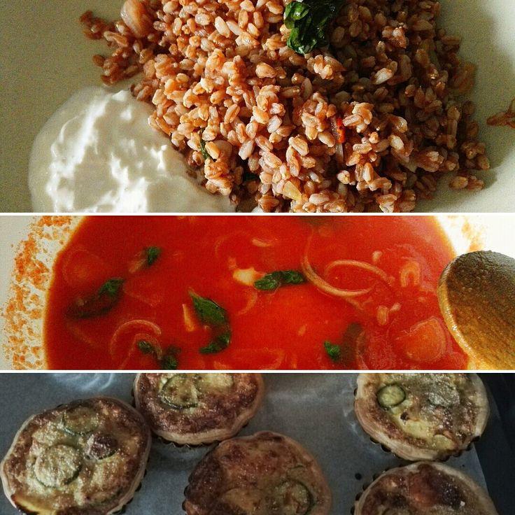 Farro con sugo pomodoro fresco (scalogno,basilico,aglio,olioe peperoncino) + stracciatella ... Mini quiche con porri zucchine patate a lamelle uova parmigiano noce moscata origano aglio