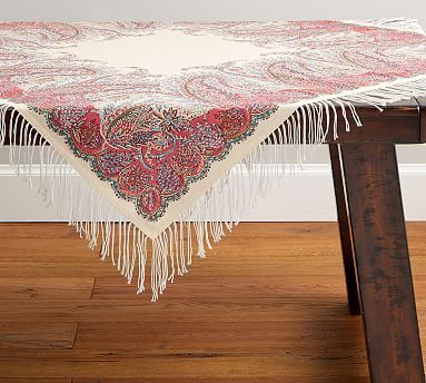 An Antique Scarf Known As A Jamawar Was The Inspiration For This Intricate Paisley Print With Delicate Fringe It Makes Beautiful Layer Your Table