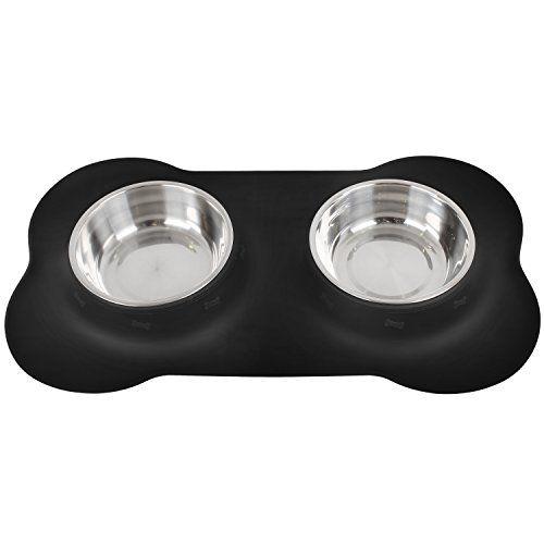 InnoGear tazones para perros con bandeja de silicona no derrame doble tazones de acero inoxidable con hueso forma antideslizante colchable extraíble perros gato de agua para alimentos tazón de fuente, negro