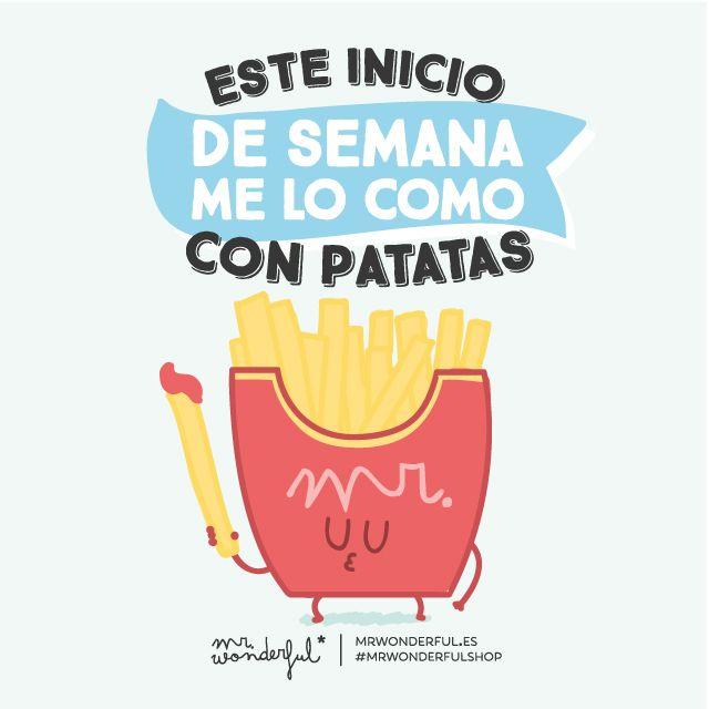 Venga, que este día nos lo comemos en un cerrar y abrir de ojos :). #motivation #quote #mrwonderful #funny #illustration