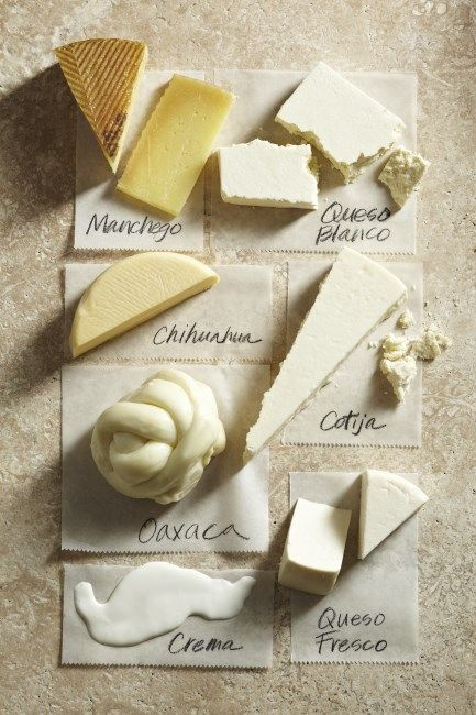 Authentic Mexican Cuisine | Chart of Mexican Cheeses. I didn't know Manchego was produced in Mexico!