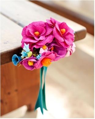 Crepes Paper, Pew Decor, Flower Bouquets, Paper Flower, Aisle Markers, Martha Stewart, Church Pew, Aisle Decor, Ceremonies Decor
