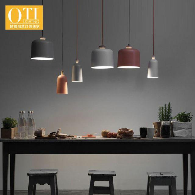 Nordic restaurante luz pingente lâmpada pingente de abajur de alumínio individualidade criativa de madeira simples