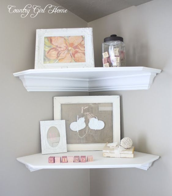 (bathroom) Corner shelving is great for adding extra storage to a room.