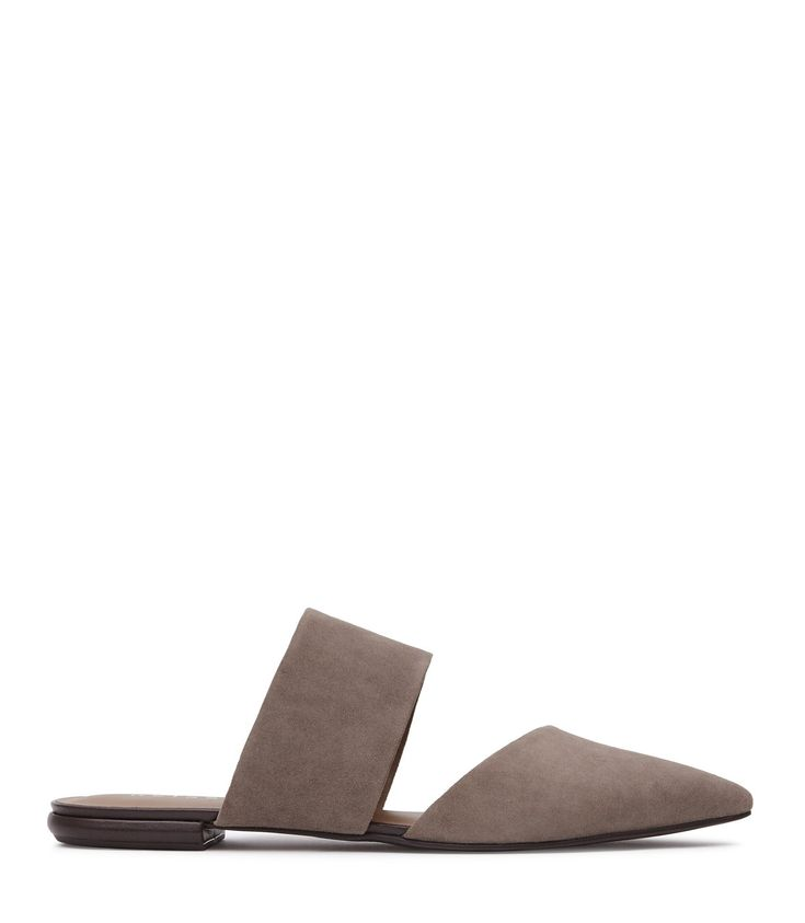 REISS EDEN SUEDE FLAT MULES GREY. #reiss #shoes #