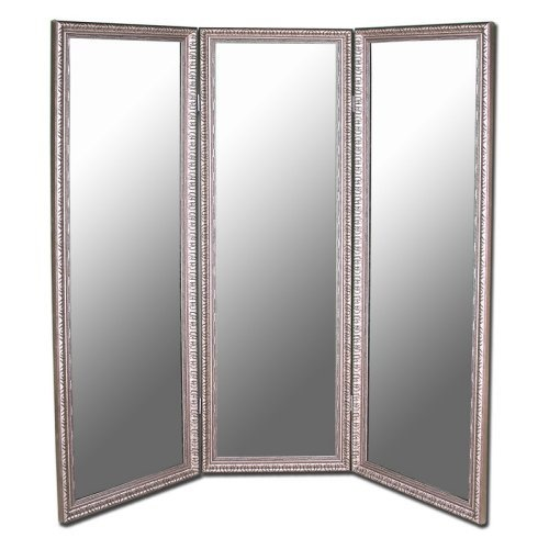 Antique Silver Full Length Free Standing Tri Fold Mirror
