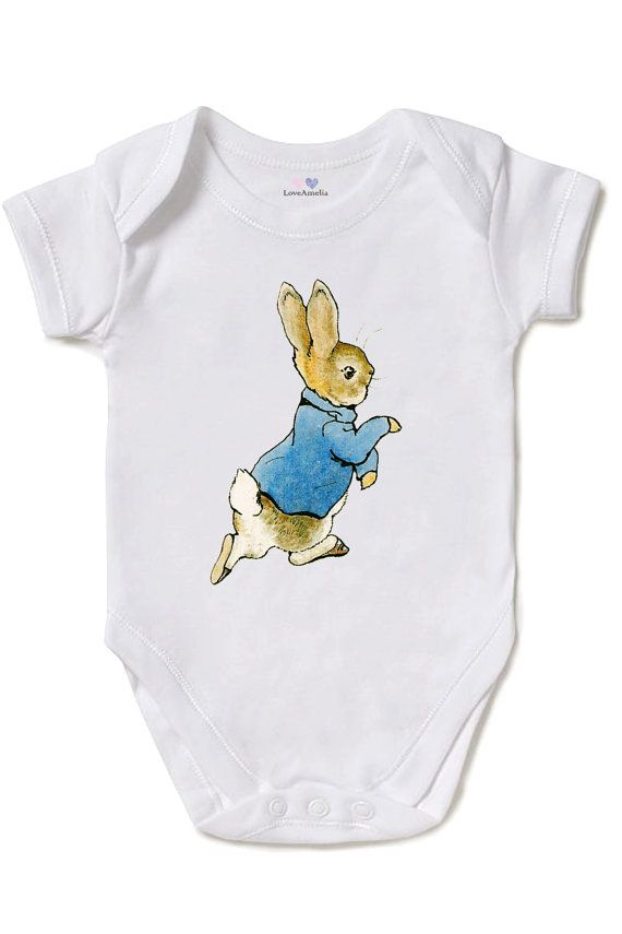Peter rabbit baby shower, One Piece Baby Bodysuit , Beatrix Potter, White 100% Cotton, Direct Garment Printing