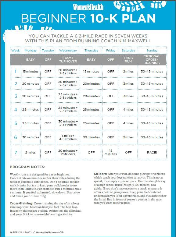 Best 10K training plan I have found for beginners. Very doable and easy to follow.