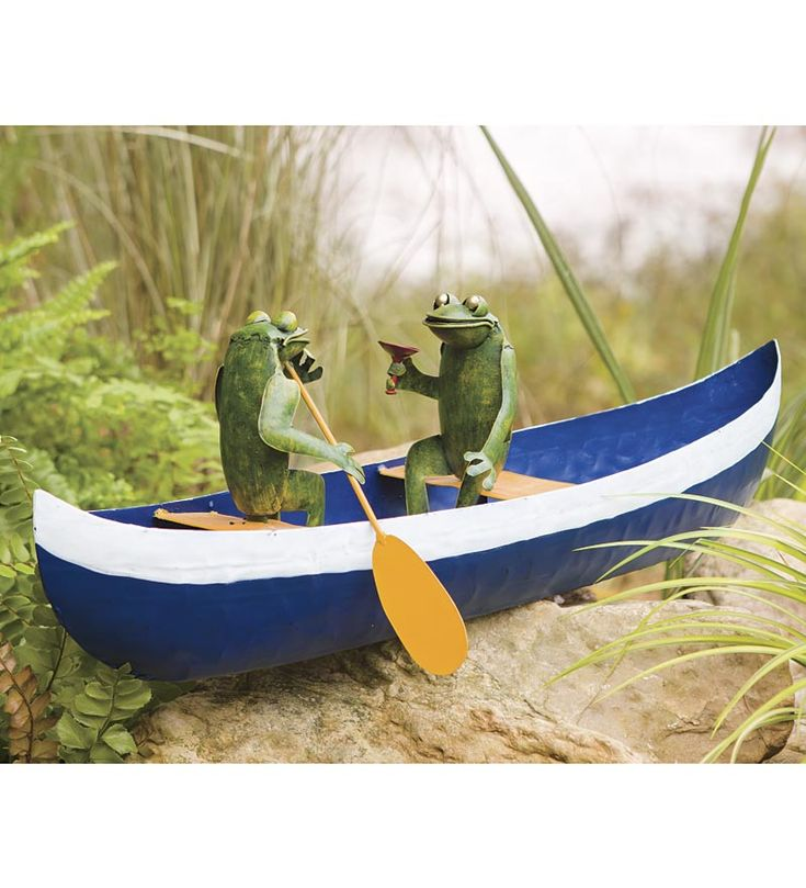 Paddling Frog Couple in Canoe Sculpture. This would be a ...