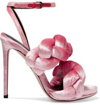 Stunning sandals braided pink by Marco De Vincenzo - Braided Velvet Sandals  - Pink