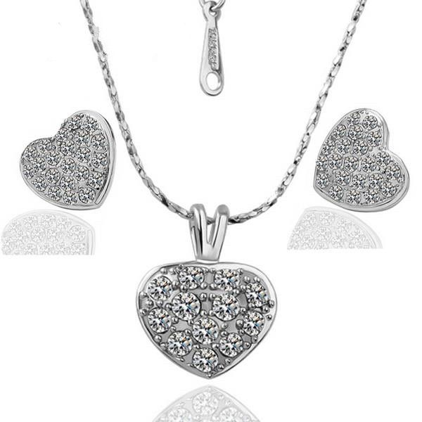 Sparkling Heart - 18K White Gold Plated & Zircon Jewelry Set