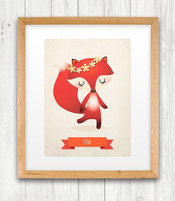 Fox art print, nursery, illustration 5x7in, animal art, kid's room decor, children art on Etsy, 9,95€