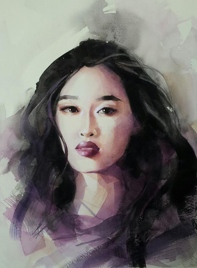 Watercolour/ 45x32 cm/ Michalina/ QoR watercolour