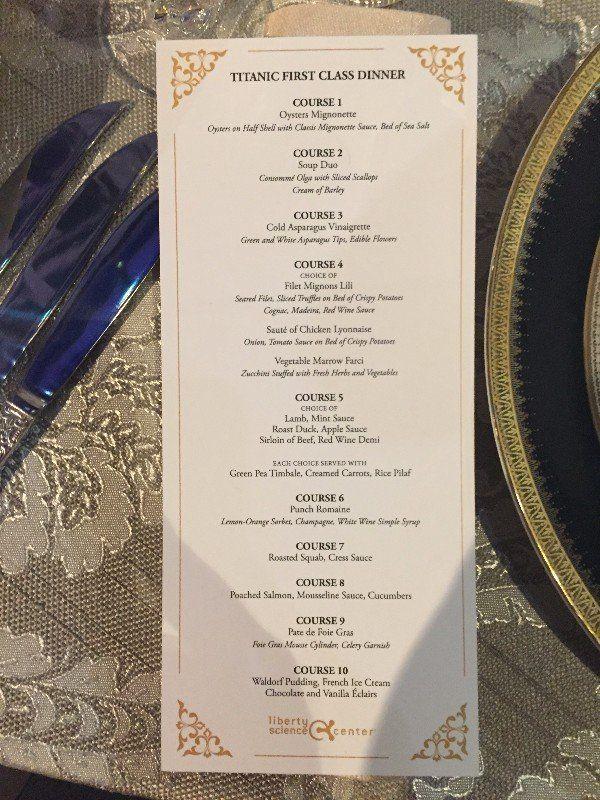 The menu of the Titanics last meal