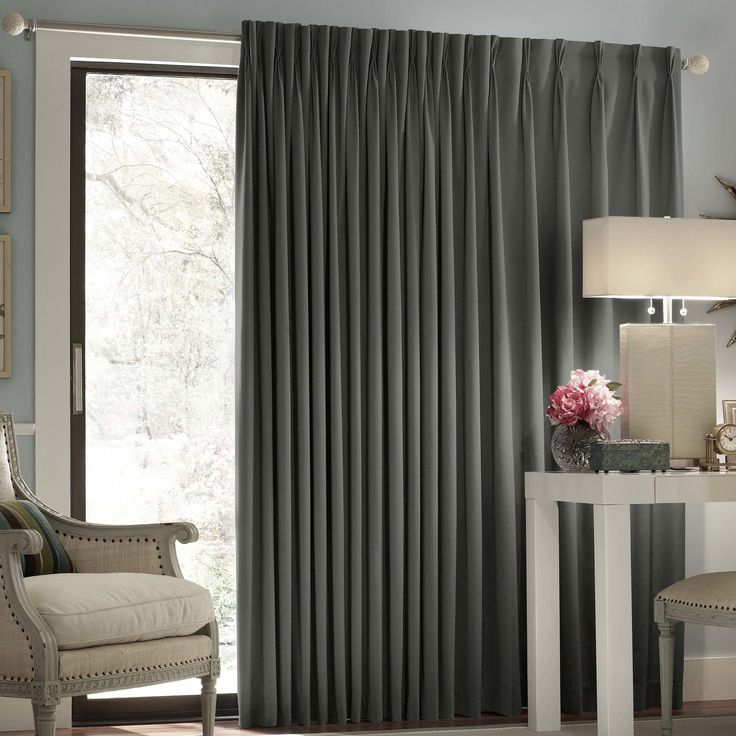 Features:  -Material: 100% Polyester.  -Color: Charcoal.  -The fashionable alternative to vertical blinds.  -Thermal blackout.  -Energy efficient, blocks light and reduces noise.  -Hang on traverse ro