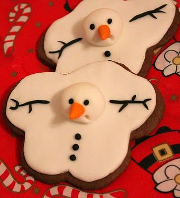 The Extraordinary Art of Cake: Melting snowmen. Make sugar cookies, then ice with regular icing (icing sugar and water is best) and use brown, white, orange and black marzipan to create features.