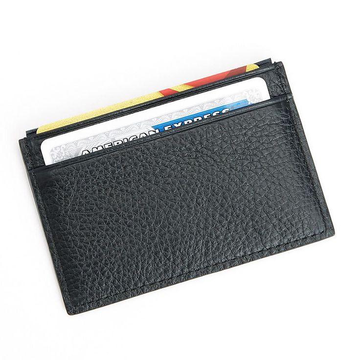 Royce® RFID-Blocking Black Nappa Leather Slim Credit Card Wallet