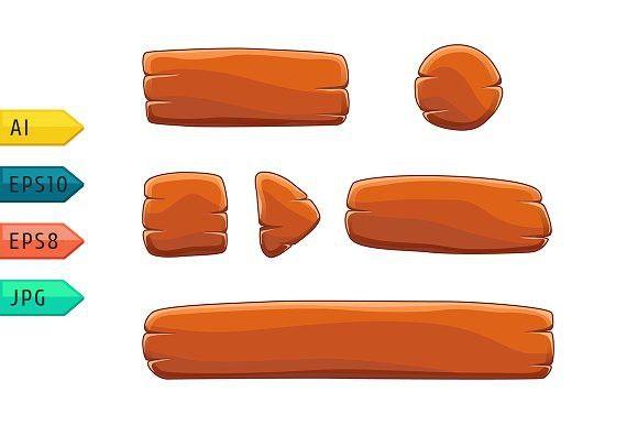 Game UI cartoon wooden buttons.. UI Elements